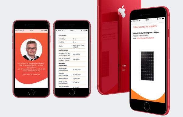Solkraft webbsida mobil vy